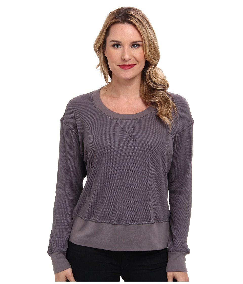Allen Allen - Long Sleeve Cropped Easy Crew Thermal (Dark Grey) Women's Long Sleeve Pullover