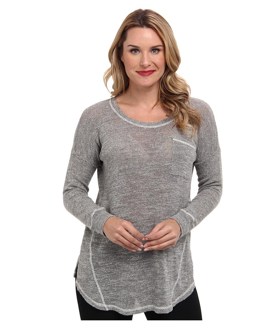 Allen Allen - Long Sleeve Seamed Pocket Crew (Cream) Women's Long Sleeve Pullover