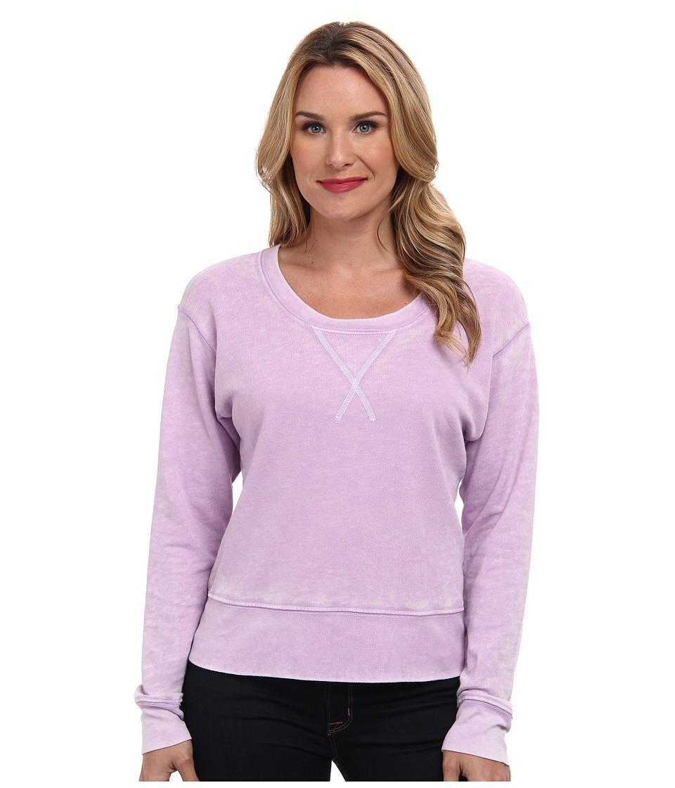 Allen Allen - Long Sleeve Burnout Wash Crew (Violet Tulip) Women's Long Sleeve Pullover