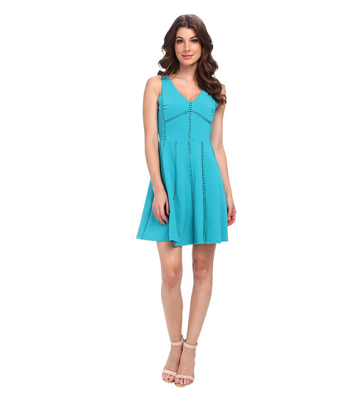 Aryn K - V-Neck Flar Mini Dress (Teal) Women