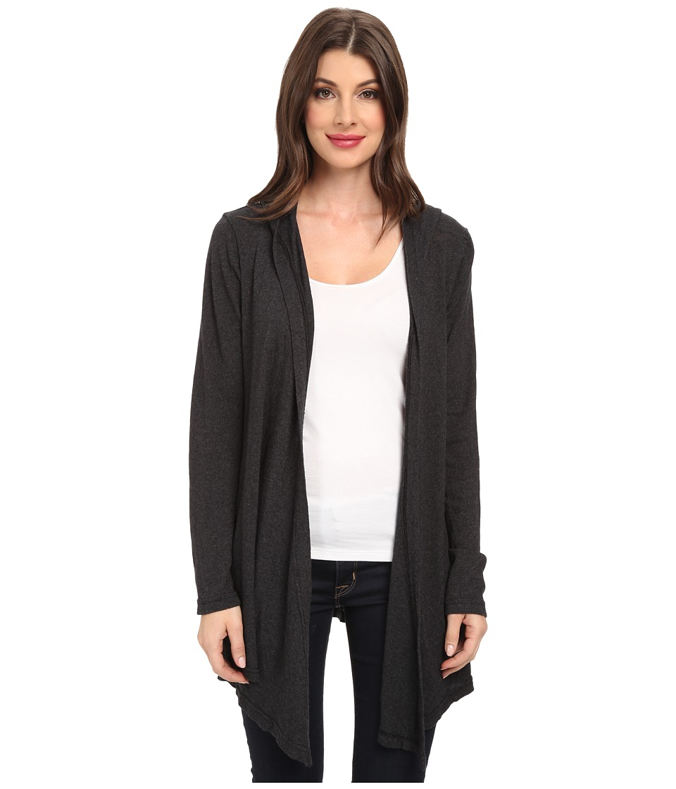 Allen Allen - Long Sleeve Hooded Open Cardigan (Black) Women's Sweater
