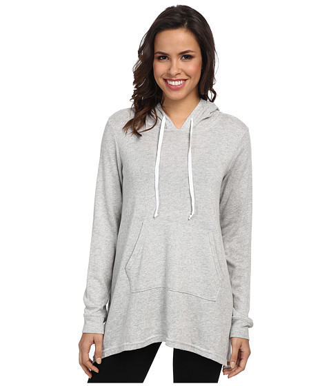 Allen Allen - Long Sleeve Angled Hoodie (Heather Grey) Women's Sweatshirt