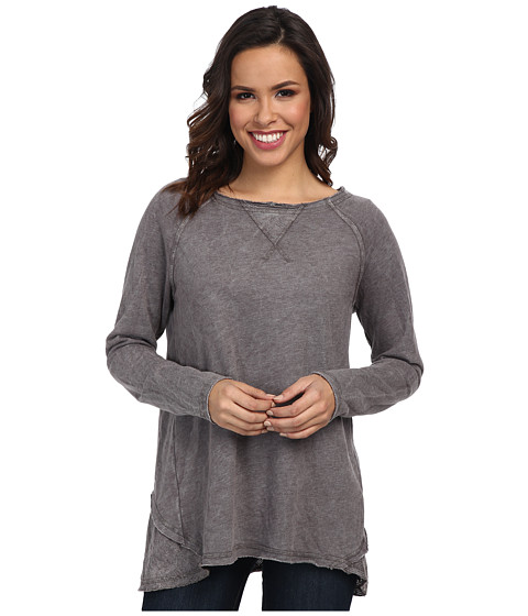 Allen Allen - Long Sleeve Double Layer Crew (Dark Grey) Women's Long Sleeve Pullover