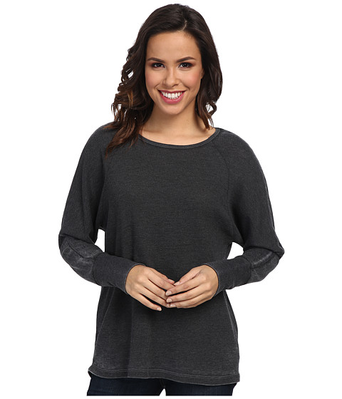 Allen Allen - Long Sleeve Raglan Crew (Black) Women's Sweater