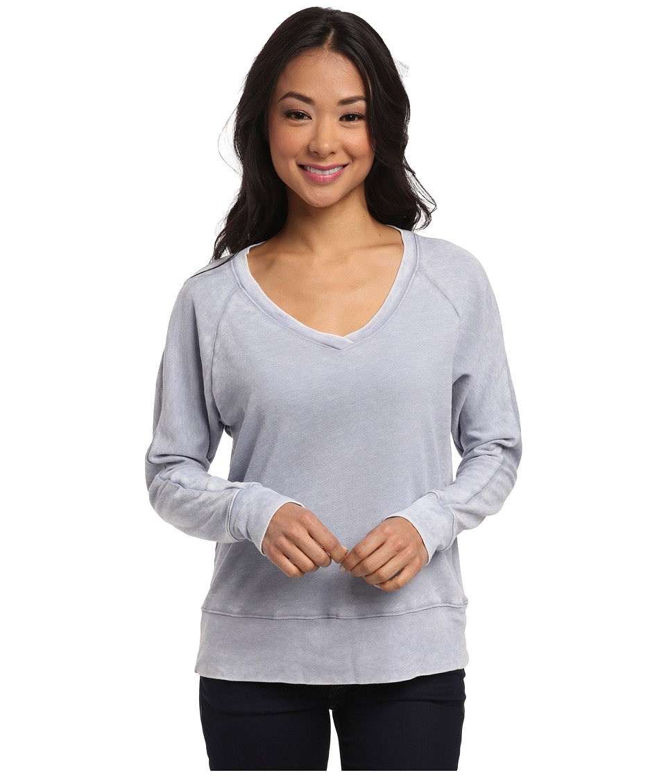 Allen Allen - French Terry Burnout Wash Long Sleeve Raglan Tee (Light Wash) Women's T Shirt