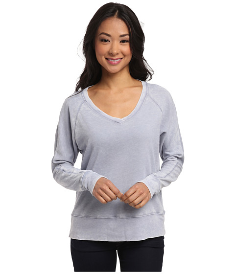 Allen Allen - French Terry Burnout Wash Long Sleeve Raglan Tee (Light Wash) Women