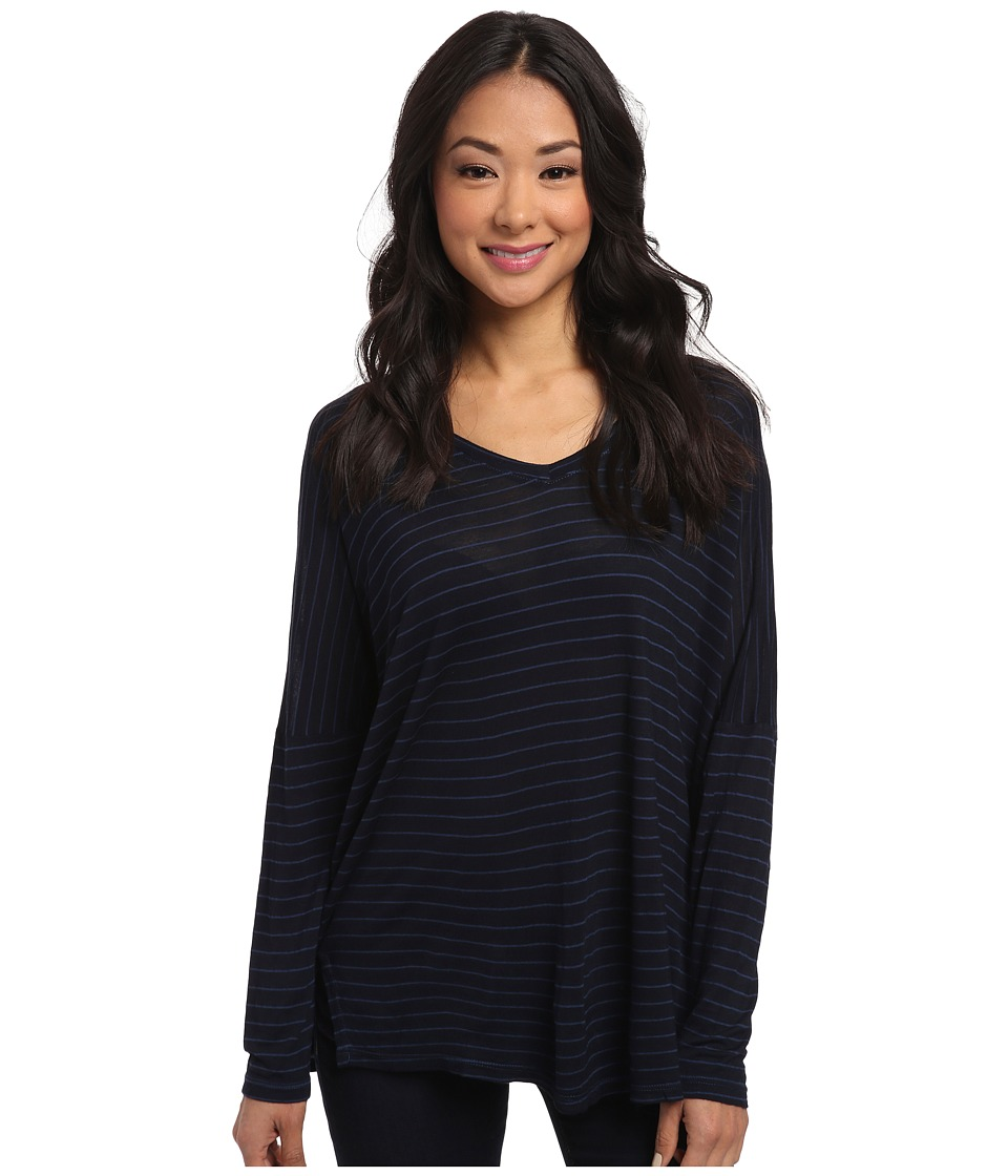 Allen Allen Long Sleeve Stripe Vee (Lapis) Women