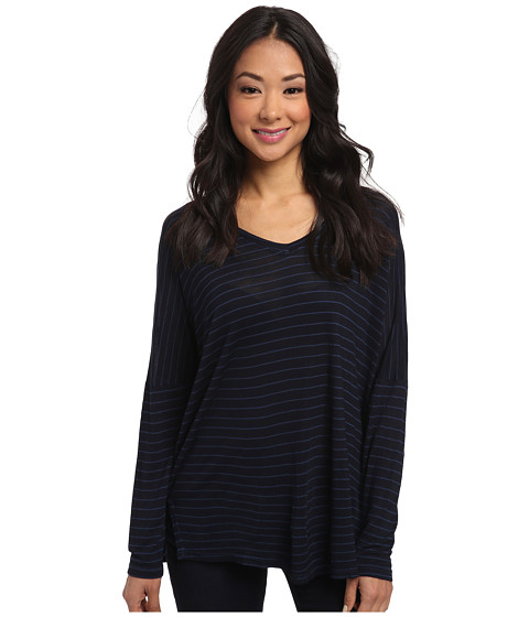 Allen Allen - Long Sleeve Stripe Vee (Lapis) Women's T Shirt