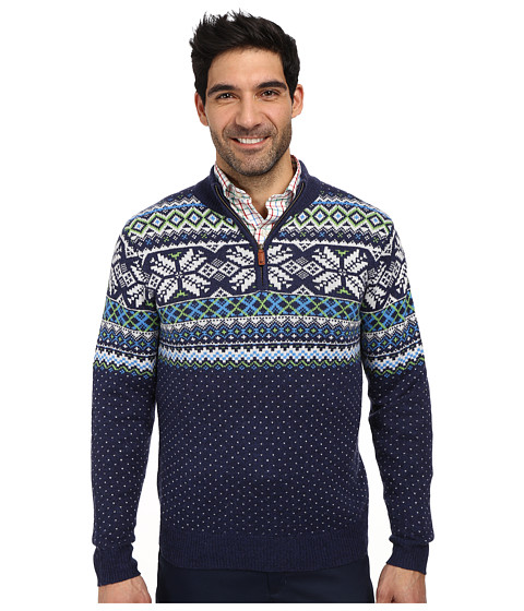 Vineyard Vines - Neon Fairisle 1/4 Zip Sweater (Nautical Navy) Men's Sweater