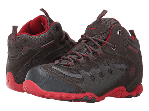 Hi-Tec Kids - Penrith Mid WP (Toddler/Little Kid/Big Kid) (Charcoal/Red) Boys Shoes