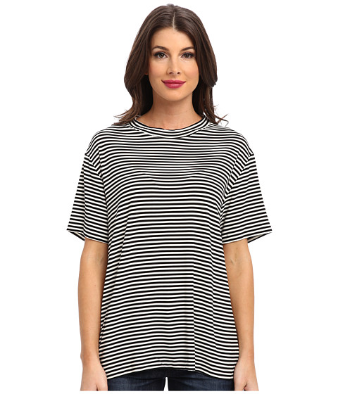KAMALIKULTURE by Norma Kamali - Go Short Sleeve Boxy Tee (Black/Ow Stripe) Women's T Shirt