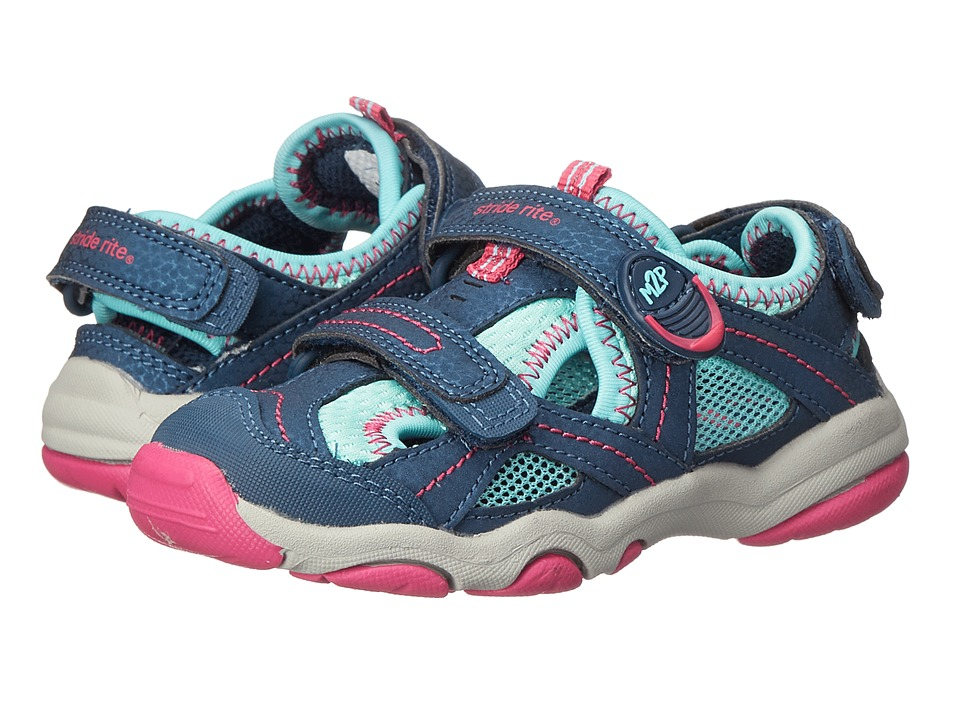 Stride Rite - M2P Sandy (Toddler/Little Kid) (Navy/Turquoise) Girls Shoes