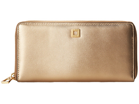 Lodis Accessories - Glassell Park Iris Zip Around (Gold) Wristlet Handbags