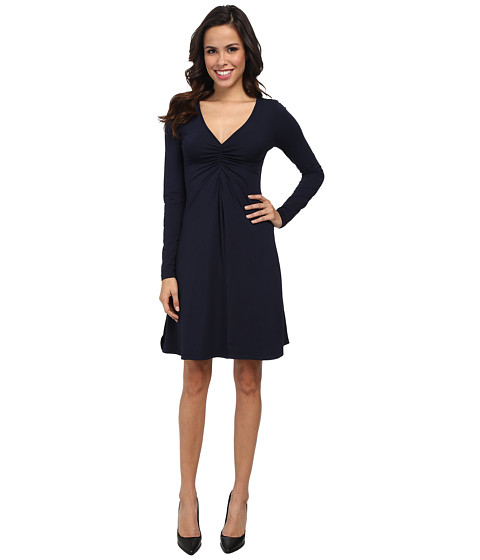 Mod-o-doc - Cotton Modal Shirred Front V-Neck Dress (Twilight) Women's Dress