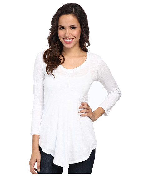 Mod-o-doc - Slub Jersey 3/4 Sleeve V-Neck Tunic (White) Women's Long Sleeve Pullover