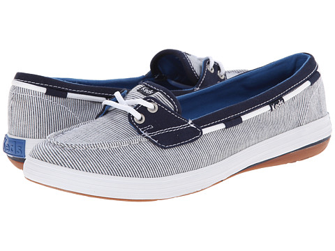 Keds - Glimmer Boat Canvas (Navy Stripe Canvas) Women