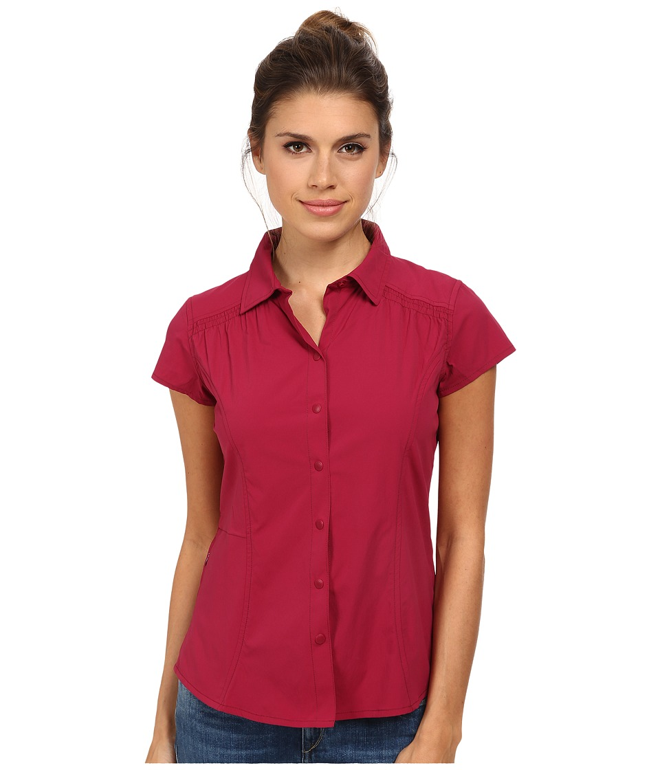 Royal Robbins - Hydro Stretch S/S (Raspberry) Women's Short Sleeve Button Up