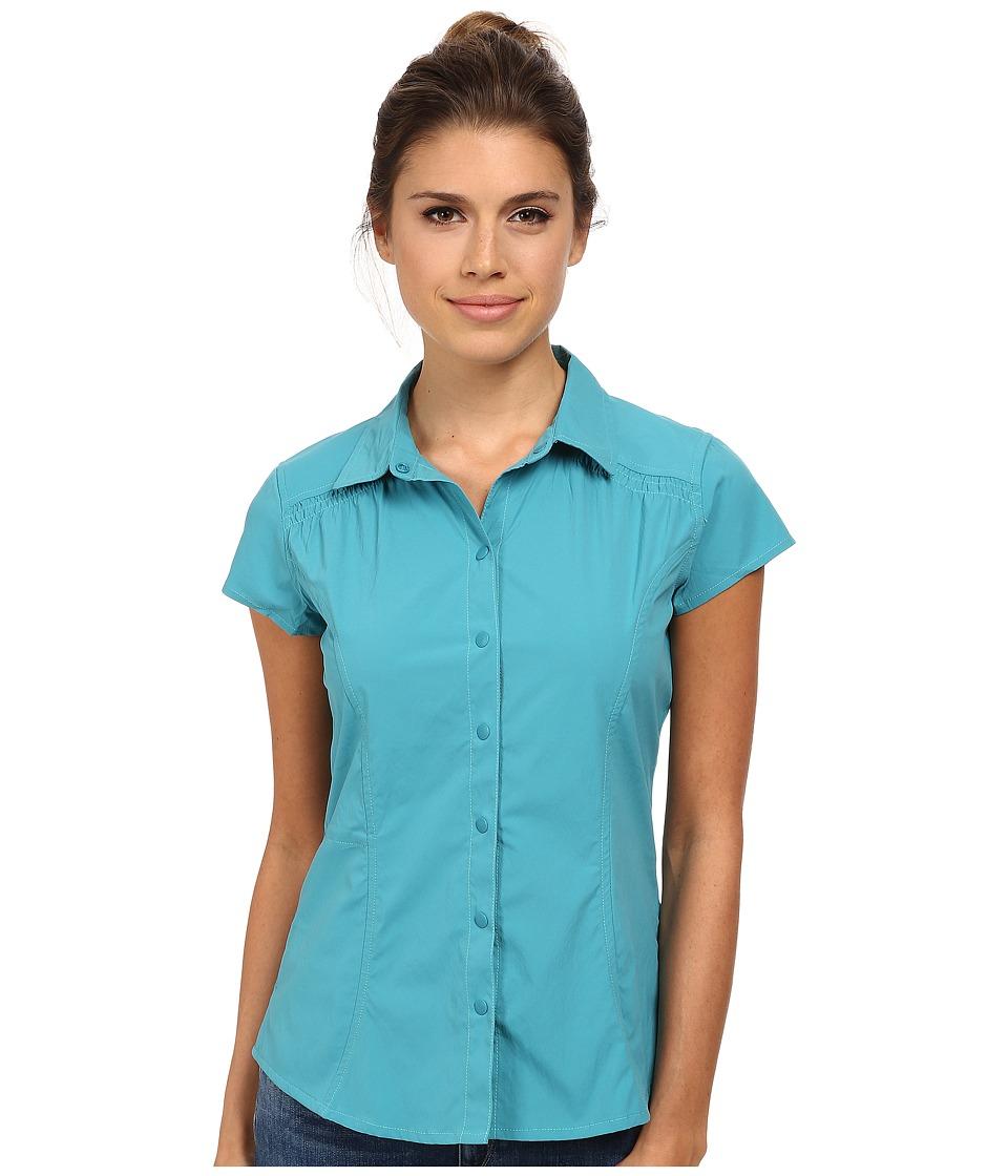Royal Robbins - Hydro Stretch S/S (Dark Aqua) Women's Short Sleeve Button Up