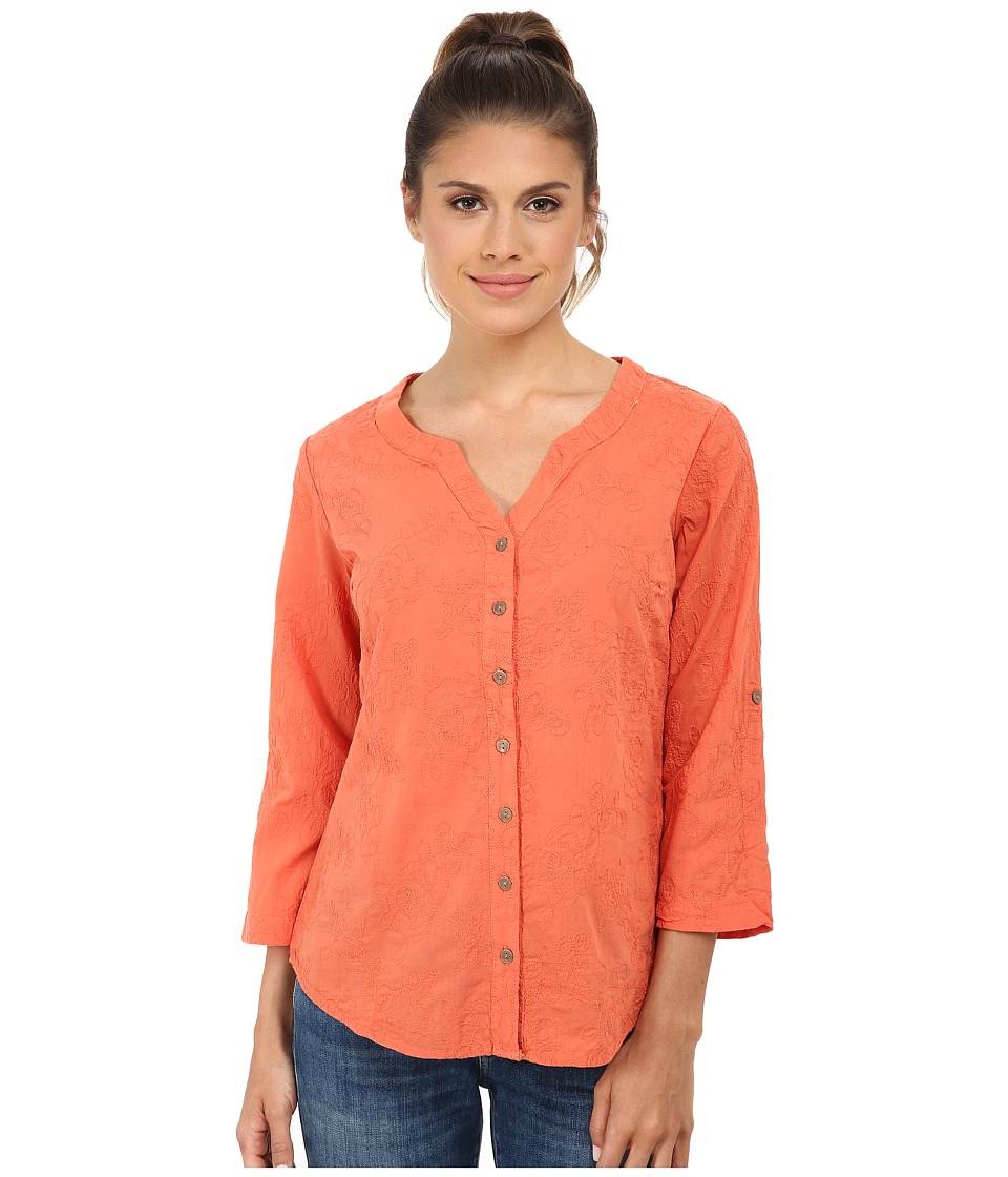 Royal Robbins - Grapevine 3/4 Sleeve (Persimmon) Women's Long Sleeve Button Up