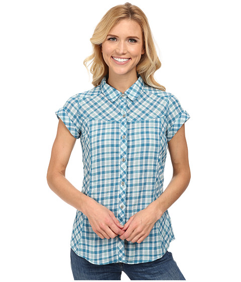 Royal Robbins - Peasant Plaid S/S (Deep Sea) Women's Short Sleeve Button Up