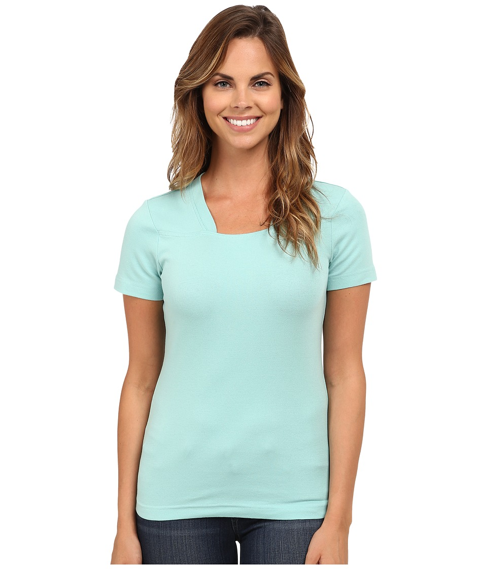 Royal Robbins - Kick Back Micro-Rib Short Sleeve Top (Light Aqua) Women's Blouse