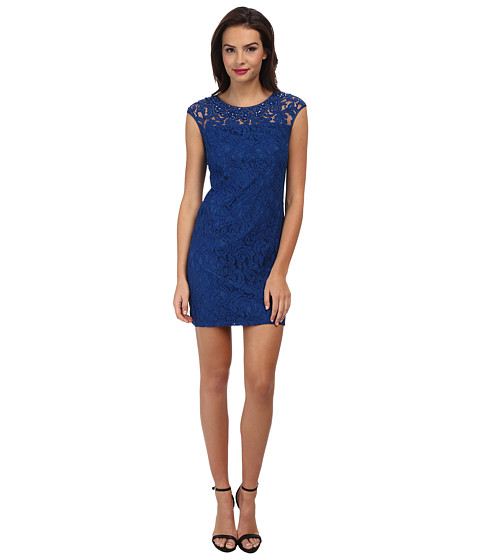 Adrianna Papell - Beaded Classic Lace Shift Dress (Marine) Women's Dress