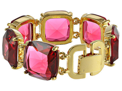 LAUREN by Ralph Lauren - Pebble Beach 7 1/2 Large Faceted Cushion Stones Flex w/ Fold-Over Closure Bracelet (Pink/Gold) Bracelet
