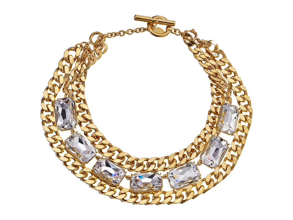 LAUREN by Ralph Lauren - Off The Runway 16 - 19 Large Chain and Large Faceted Stones w/ Ring and Toggle 2-in-1 Necklace (Gold/Crystal) Necklace