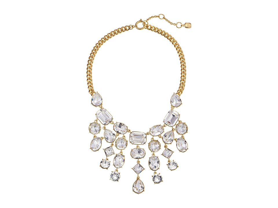 LAUREN by Ralph Lauren - Off The Runway 16 Curb Chain w/ Faceted Stones Bib w/ Spring Ring Closure Necklace (Gold/Crystal) Necklace
