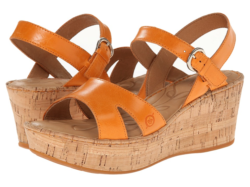 Born - Du Jour (Mango (Orange) Full-Grain Leather) Women's Wedge Shoes