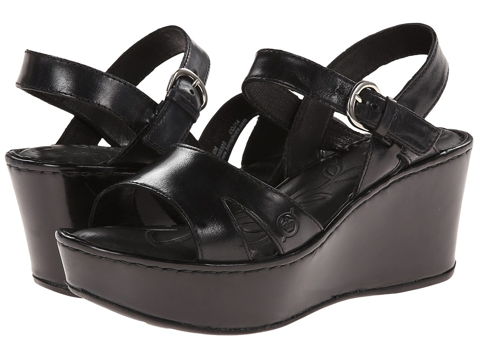 Born - Du Jour (Black Full-Grain Leather) Women's Wedge Shoes