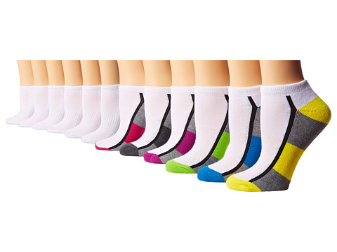 Steve Madden - 12 Pack Low Cut Athletic Color Block 1/2 Cushion (White/Brights) Women's Low Cut Socks Shoes