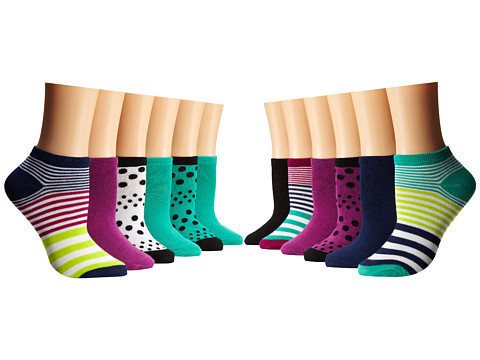 Steve Madden - 12 Pack Stripe/Dot Low Cut Fashion Athletic (Berry/Jade/Navy) Women's Low Cut Socks Shoes