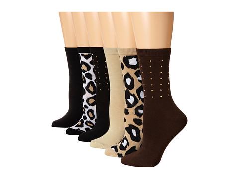 Steve Madden - 6 Pack Stud Crew and Animal Print (Chocolate/Khaki) Women's Crew Cut Socks Shoes