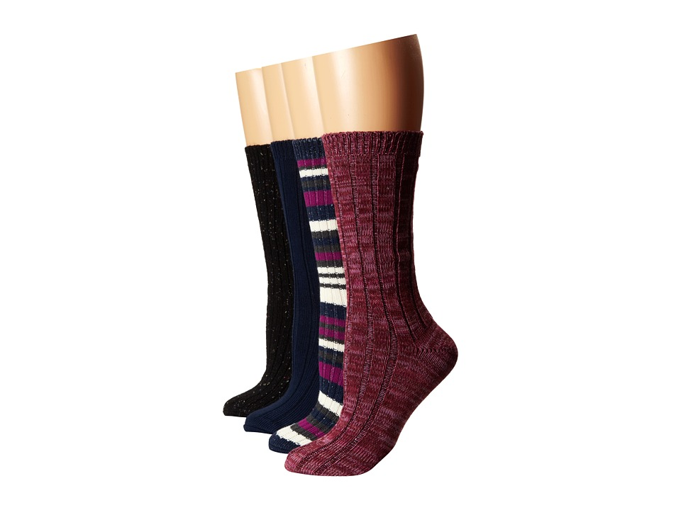 Steve Madden - 4 Pack Marl and Solid Boot Sock (Charcoal/Navy/Burgundy) Women's Knee High Socks Shoes