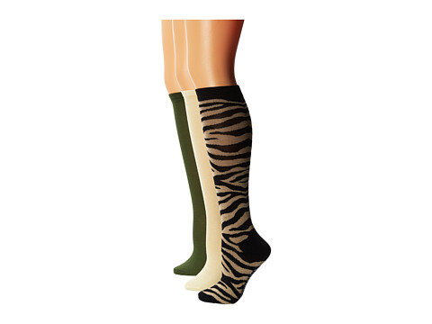 Steve Madden - 6 Pack Animal Print and Solid Knee High (Black/Khaki) Women's Knee High Socks Shoes