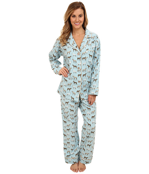 BedHead - Classic Flannel PJ (Light Blue Year of the Horse) Women's Pajama Sets