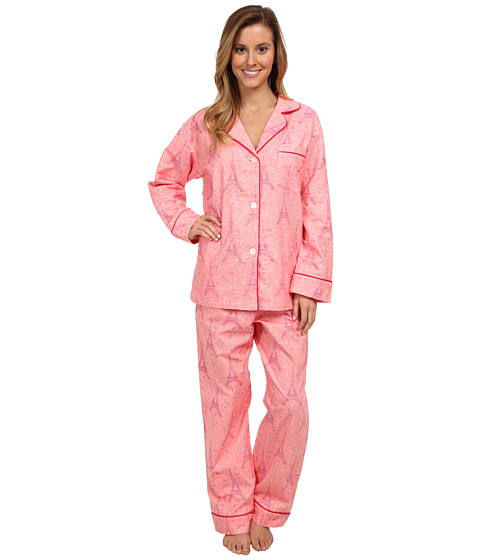 BedHead - Classic Flannel PJ (Pink Eiffel Tower) Women's Pajama Sets