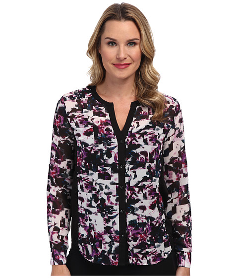 KUT from the Kloth - Elena Print Top (Black/Orchid) Women