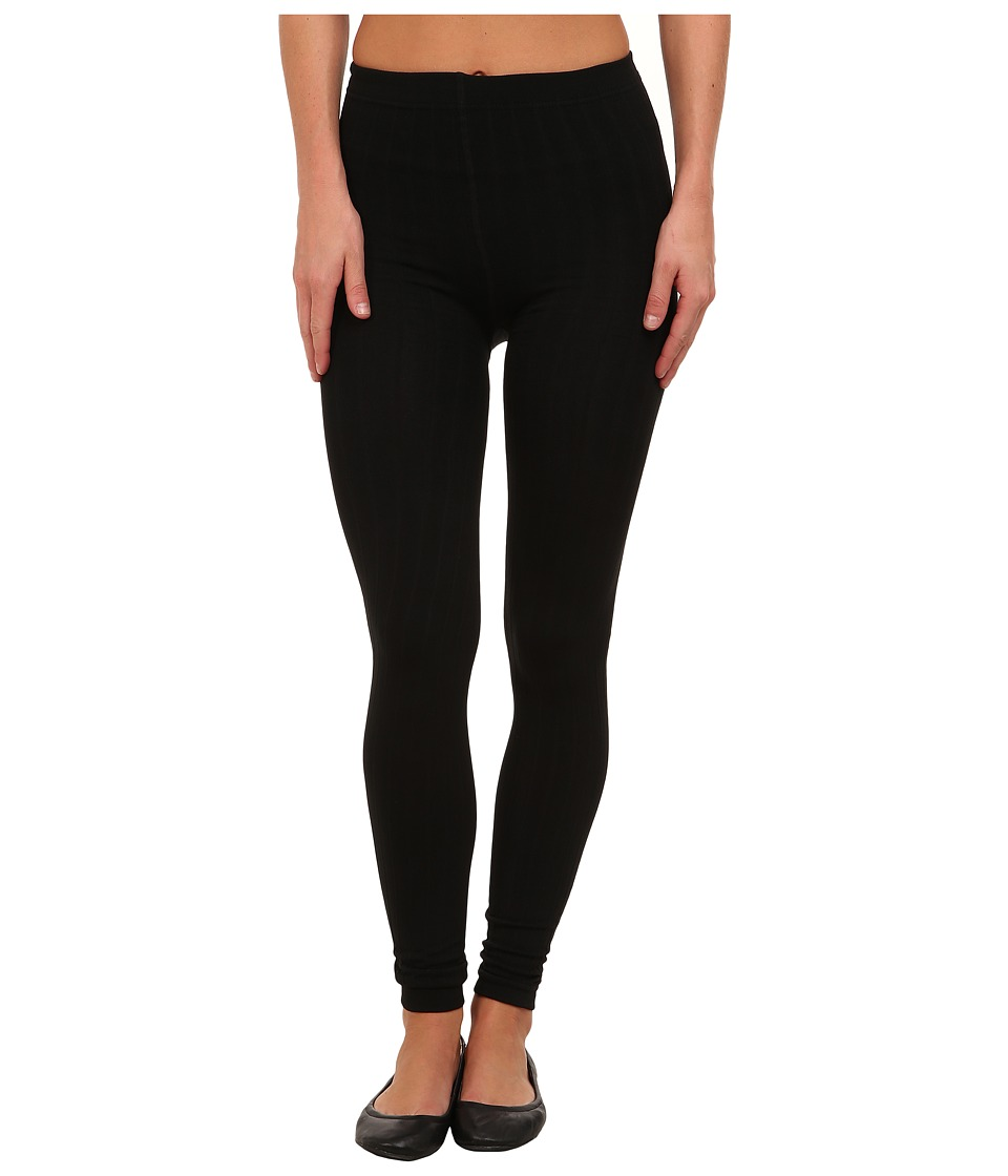 Steve Madden - Fleece Lined Ribbed Legging (Black) Women's Clothing