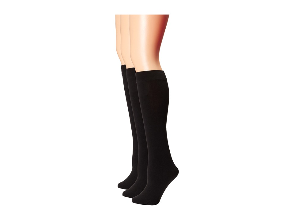 Steve Madden - 4 Pack Fleece Lined Knee High (Black) Women's Knee High Socks Shoes