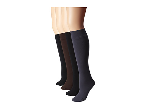 Steve Madden - 4 Pack Fleece Lined Knee High (Black/Chocolate/Grey) Women's Knee High Socks Shoes