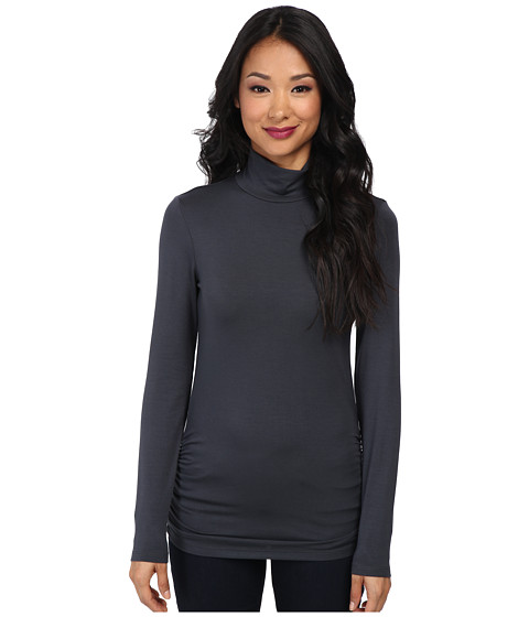 Michael Stars - Long Sleeve Mock w/ Shirring (Oxide) Women's Clothing