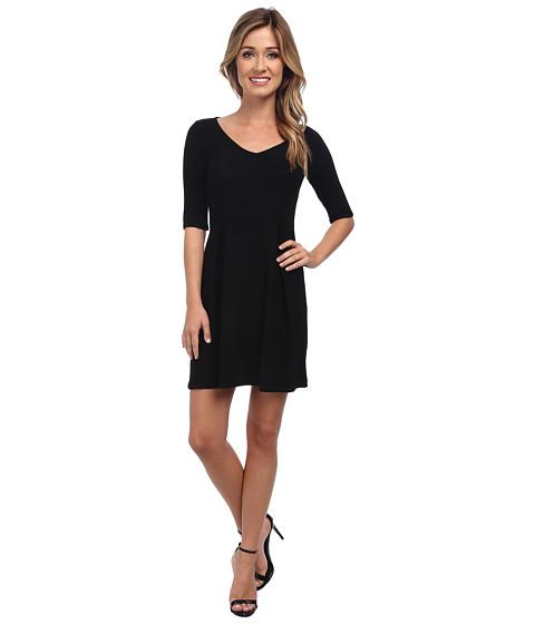 Michael Stars - Ottoman Elbow Sleeve V-Neck Dress (Black) Women's Dress