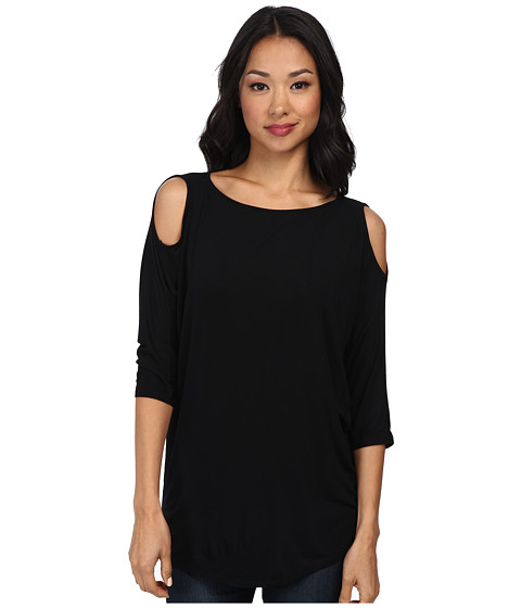 Michael Stars - Lycra Jersey 3/4 Sleeve Cold Shoulder Tunic (Black) Women's Long Sleeve Pullover