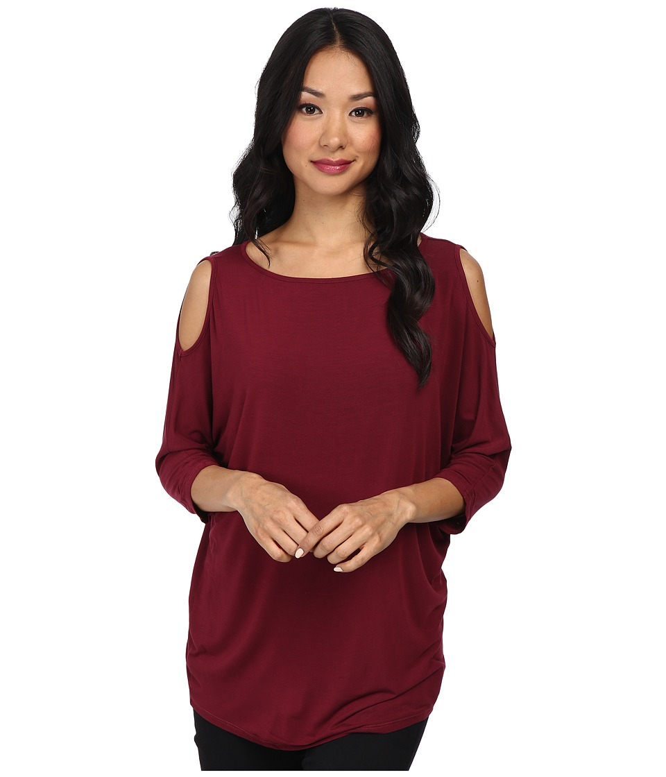Michael Stars - Lycra Jersey 3/4 Sleeve Cold Shoulder Tunic (Garnet) Women's Long Sleeve Pullover