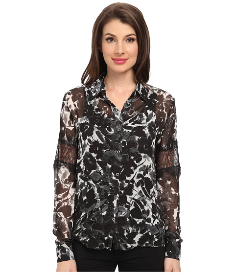 KUT from the Kloth - Stella Top (Ivory/Black) Women's Long Sleeve Button Up
