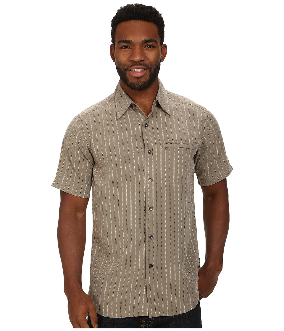 Royal Robbins - Seif Stripe S/S (Taupe) Men's Short Sleeve Button Up