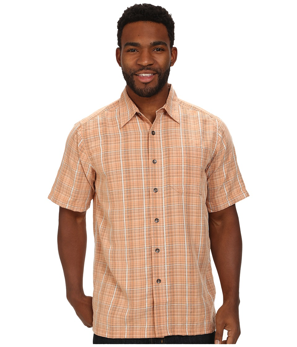 Royal Robbins - Pilat Plaid S/S (Salmon) Men's Short Sleeve Button Up