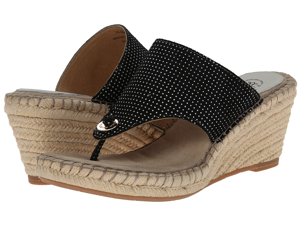 Johnston & Murphy - Ainsley Thong (Black & White Dot) Women's Sandals